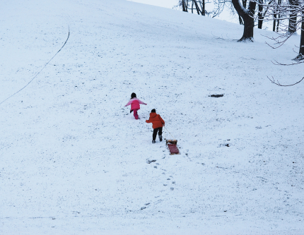 Hiking up Snowy Hill