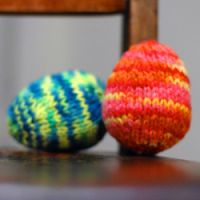 knitted wool easter eggs