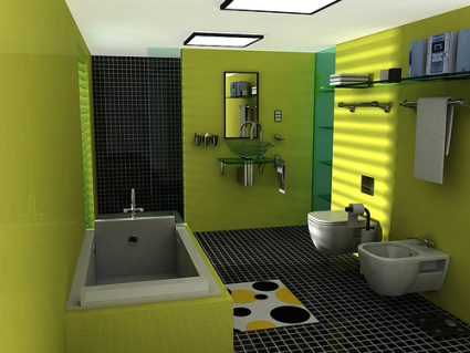 Engrained-with-green-paint-bathroom-well-furnished-with-contemporary-green-bathtub-glass-washbasin-mirror-and-modish-bathroom-furniture