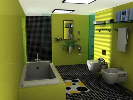 Спалнята за дечица и дяволчета Green-bathroom