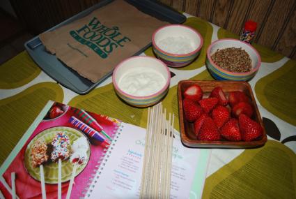 Making Strawberry Chopstick Pops
