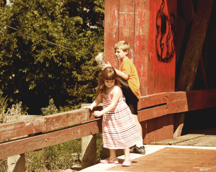 Playing on a covered bridge