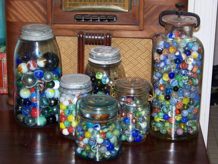 Glass Jar with Marbles