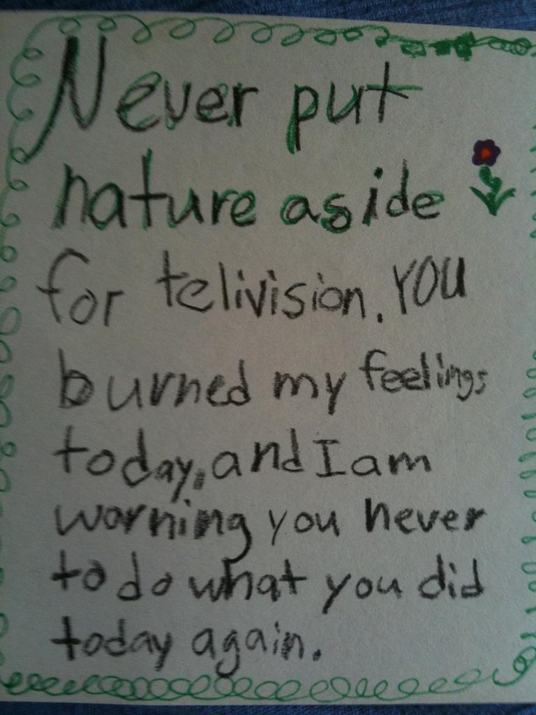 Nature Memo Written by Child